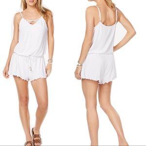 White Draw-String Cover-Up Romper